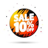 Sale 10% off, discount banner design template, extra promo tag, vector illustration stock illustration