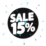 Sale 15% off, discount banner design template, extra promo tag, vector illustration stock illustration