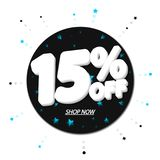 Sale 15% off, discount banner design template, extra promo tag, vector illustration royalty free illustration