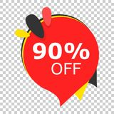 Sale 90% off discount price tag icon. Vector illustration on iso. Lated transparent background. Business concept price discount pictogram royalty free illustration
