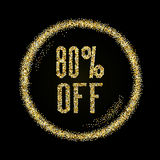 Sale 80 off, discount type on Golden glitter sparkles background Royalty Free Stock Photography