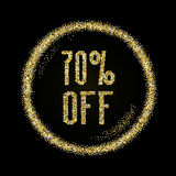 Sale 70 off, discount type on Golden glitter sparkles background Royalty Free Stock Photos