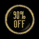 Sale 90 off, discount type on Golden glitter sparkles background Stock Photography