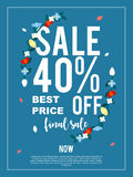 Sale 40% off final sale banner for advertisement. Stock Image