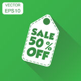 Sale 50% off hang tag icon. Business concept sale 50% shopping p. Ictogram. Vector illustration on green background with long shadow Stock Illustration