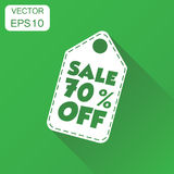 Sale 70% off hang tag icon. Business concept sale 70% shopping p. Ictogram. Vector illustration on green background with long shadow royalty free illustration