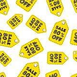 Sale 80% off hang tag seamless pattern background. Business flat Royalty Free Stock Photography