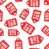 Sale 80% off hang tag seamless pattern background. Business flat Stock Photos