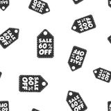 Sale 60% off hang tag seamless pattern background. Business flat. Vector illustration. Sale 60% off shopping sign symbol pattern Stock Image