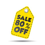 Sale 80% off hang tag. Vector illustration Stock Photography
