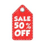 Sale 50% off hang tag. Vector illustration.  Royalty Free Illustration