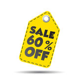 Sale 60% off hang tag. Vector illustration.  Stock Image