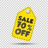 Sale 70% off hang tag. Vector illustration.  royalty free illustration