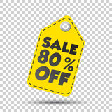 Sale 80% off hang tag. Vector illustration Royalty Free Stock Images