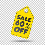 Sale 60% off hang tag. Vector illustration.  Royalty Free Stock Photography