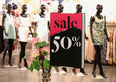 Sale Off. Information in a store royalty free stock photo