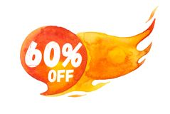 60% sale off lettering on hot burning speech bubble, watercolor sale-out sign isolated on white.  vector illustration