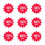 Sale, off percent, icon set, red. Vector EPS 10. stock illustration
