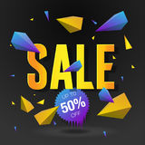 Sale 50 off poster with abstract triangle elements, black background Royalty Free Stock Image