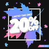Autumn Sale 20% off, poster design template, special offer, vector illustration. Sale 20% off, poster design template, special offer, vector illustration vector illustration