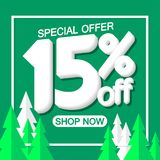 Christmas Sale 15% off, poster design template, special offer, vector illustration. Sale 15% off, poster design template, special offer, vector illustration royalty free illustration