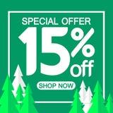 Christmas Sale 15% off, poster design template, special offer, vector illustration. Sale 15% off, poster design template, special offer, vector illustration vector illustration