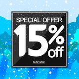 Winter Sale 15% off, poster design template, special offer, vector illustration. Sale 15% off, poster design template, special offer, vector illustration stock illustration