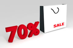 "70% sale off promotion for product selling,white shopping bag. And text ""sele"" with text number 70%,summer sale,end of season,Shock price,white background Stock Photos"