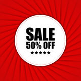 Sale 50 Off Red background with white circle Royalty Free Stock Image