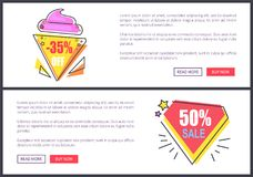 Sale -30 and -50 Off Set Vector Illustration. Sale -30 and -50 off web pages set with interesting triangular shapes with text, stars and lines, form of ice-cream Royalty Free Stock Photography