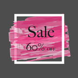 Sale 60% off sign over grunge brush art paint abstract texture background acrylic stroke poster vector illustration. Perfect watercolor design for a shop and royalty free illustration