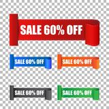 Sale 60% off sticker. Label vector illustration on back. Ground stock illustration
