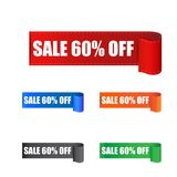 Sale 60% off sticker. Label vector illustration on white backgro. Und Stock Photos