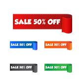Sale 50% off sticker. Label vector illustration on white backgro. Und Royalty Free Stock Image