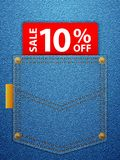 Sale ten percentage off. Sale off tag in blue denim pocket Royalty Free Stock Images