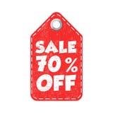 Sale 70% off tag. Label vector illustration on white background.  royalty free illustration