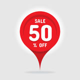 Sale 50 % off - vector concept graphic illustration. Red circle discount sticker design. Abstract location sign Royalty Free Stock Photos