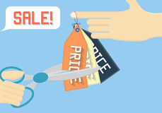 Sale off vector illustration. Cutting price flat illustration. Stock Images