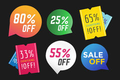 Sale Off vector tags label banner icons Stock Photos