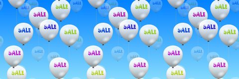 Sale offer printed on the floating balloons Royalty Free Stock Photos