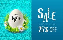 Easter sale and realistic egg Stock Photos