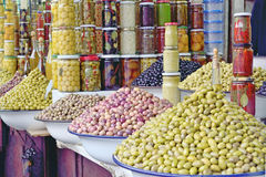 Sale of olives in Morocco market in Morocco Royalty Free Stock Image
