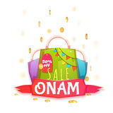 Sale Onam banner with packet and ribbon. Vector illustration.  Stock Image