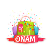 Sale Onam banner with packet and ribbon. Vector illustration.  Stock Photos