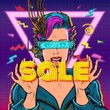 Sale. online shopping. joyful woman in virtual reality stock photos
