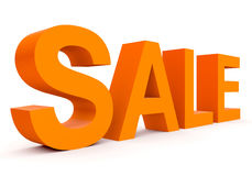 SALE - orange 3d letters  on white. Side view Stock Photo