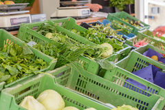 Sale of organic vegetables at the weekly market Stock Image