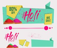 Sale origami banners, Big Sale with 80% discount and big offer with colorful floral website header or banner set for indian festiv. Al holi Stock Photography