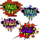 Sale Banners Set. 4 Sale  colorful graffiti banners, Vector Illustration Stock Photography