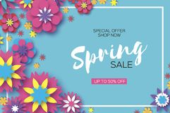 Sale. Origami Spring Colorful Flowers Banner. Paper cut Floral Greetings card. Spring blossom. Rectangle frame. Happy. Women s Day. 8 March. Text. Seasonal vector illustration